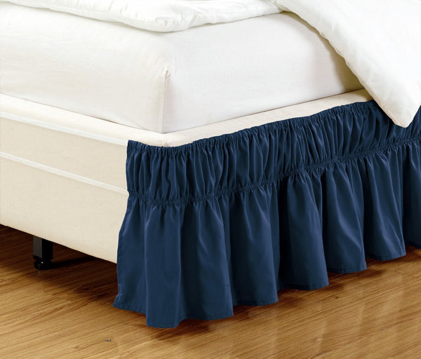 WRAP AROUND DUST RUFFLE, COTTON BLEND BED SKIRT, 14 INCH DROP