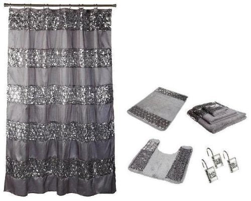 Popular Bath Sinatra Silver Shower Curtain, Rugs and Resin Accessory Set