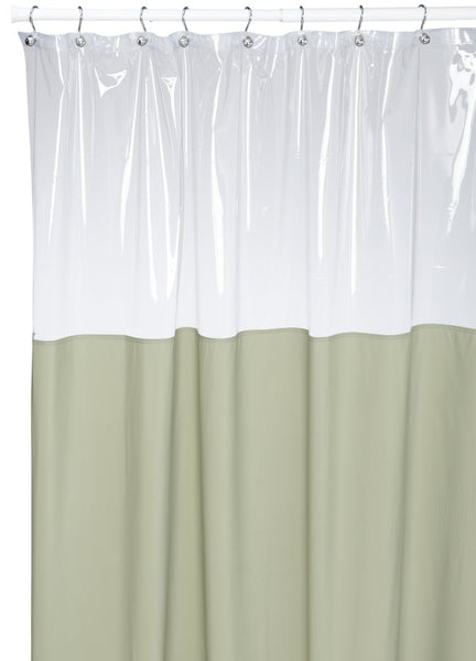 Vinyl Shower Curtain With Clear Window At Top Sage Green Browns