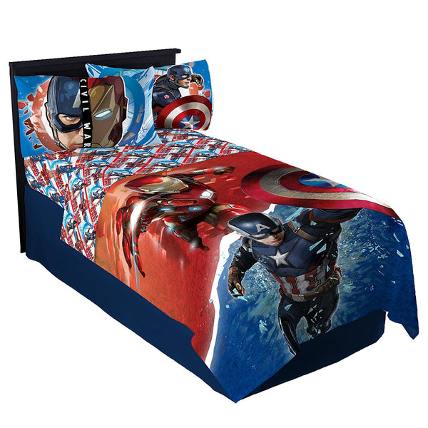 MARVEL CAPTAIN AMERICA CIVIL WAR WARRIORS TWIN SIZE SHEET SET WITH 1 PILLOWCASE