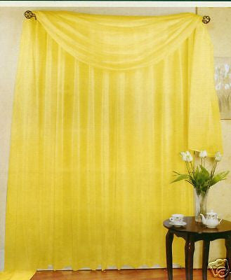 "SET OF 2 SHEER VOILE TAILORED CURTAINS 84"" LONG BRIGHT YELLOW"
