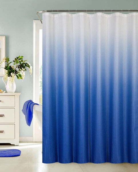 Ombre Waffle Fabric Shower Curtain with 12 Metal Roller Hooks, Blue