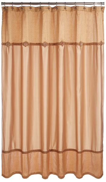 Avanti Linens Braided Medallion Gold Shower Curtain And Resin Bath Accessory Set