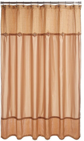 Avanti Linens Braided Medallion Fabric Shower Curtain, Gold