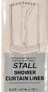 STALL SIZE VINYL SHOWER CURTAIN LINER 54'' wide x 78''