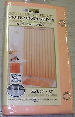VINYL SHOWER LINER WITH MAGNETS  AND GROMMETS PEACH