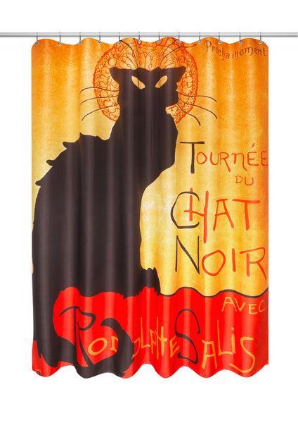 Chat Noir Fabric Shower Curtain by Theophile Steinlen