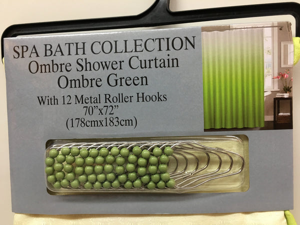 Ombre Waffle Fabric Shower Curtain with 12 Metal Roller Hooks, Green