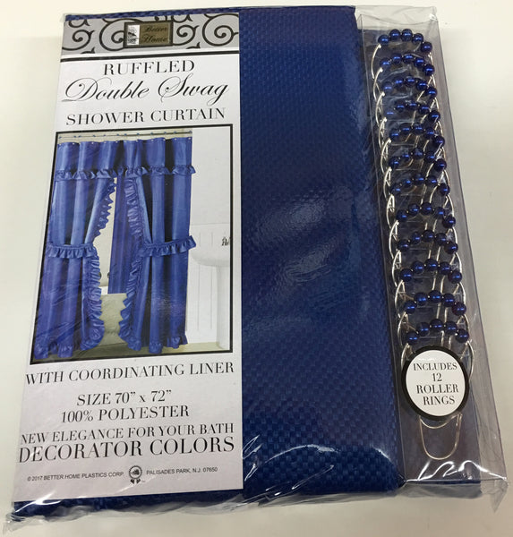 MOSAIC DOUBLE SWAG FABRIC SHOWER CURTAIN, LINER AND 12 ROLLER HOOKS