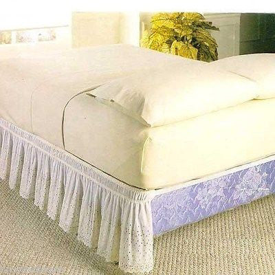 "WRAP AROUND EYELET LACE BED SKIRT DUST RUFFLE, 18"" DROP"