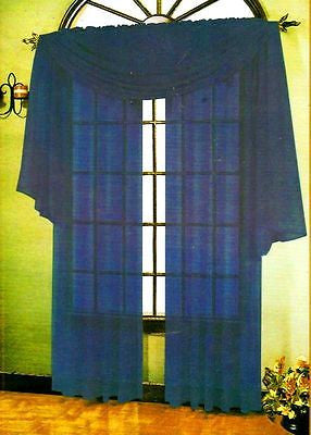 "SET OF 2 SHEER VOILE CURTAINS 84"" LONG NAVY BLUE"