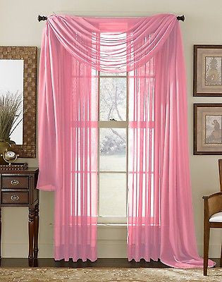 SHEER VOILE 216 WINDOW CURTAIN SCARF SCARVES PINK ROSE