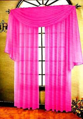 "SET OF 2 SHEER VOILE CURTAINS 84"" LONG BRIGHT ROSE"