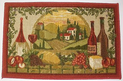 WINE BOTTLES AND FRUIT KITCHEN RUG NON SKID BACK