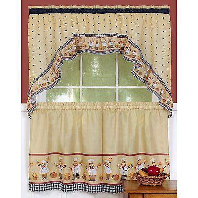 CUCINA ITALIAN CHEF THEME CURTAINS AND SWAG SET