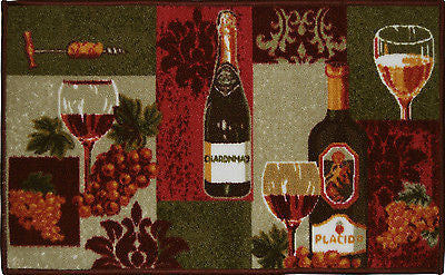 LIVING CLASSICS CHARDONNAY WINE BOTTLES KITCHEN RUG NON SKID BACK