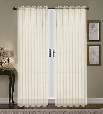 "SET OF 2 SHEER VOILE TAILORED CURTAINS 84"" LONG IVORY BONE BEIGE"