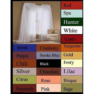 "SET OF 2 SHEER VOILE CURTAINS 84"" LONG WHITE"