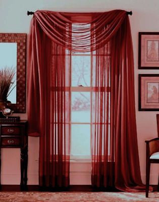 "SHEER VOILE 216"" WINDOW SCARF BURGUNDY"