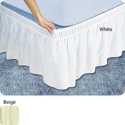 "WRAP AROUND BED SKIRT, DUST RUFFLE, 18"" DROP"