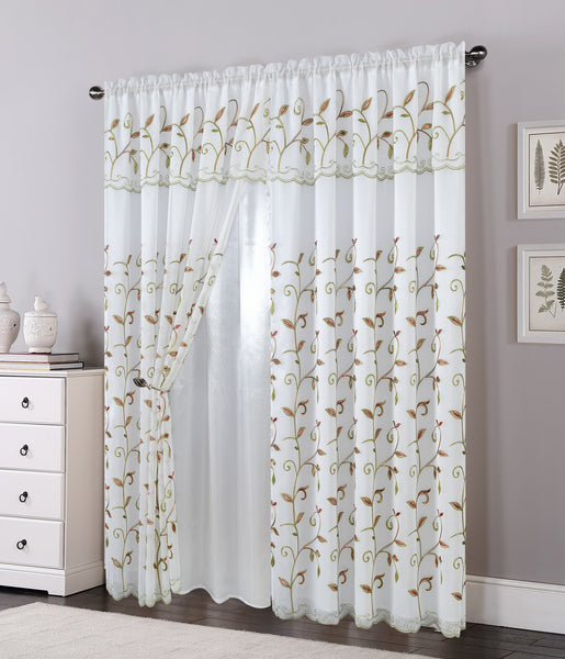 "Set of 2 Lucia Embroidered Curtains with Attached Valance and Backing, 84"" Long"