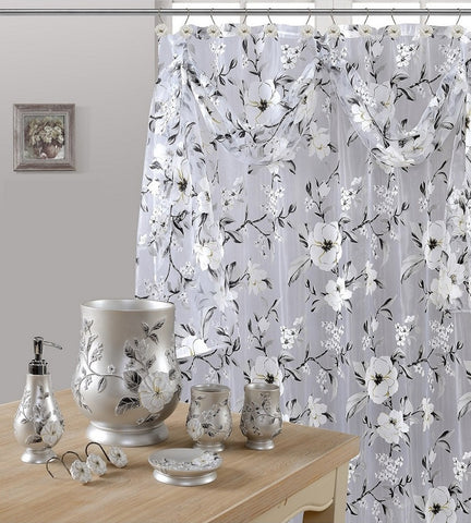 7 Piece Melrose Gray Shower Curtain, Shower Hooks and Resin Wastebasket Accessory Set