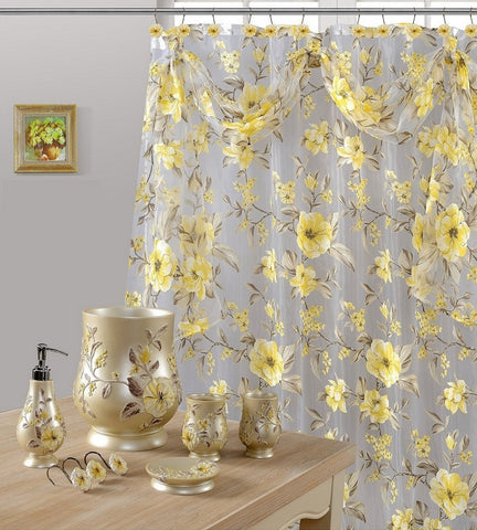 7 Piece Melrose Yellow Shower Curtain, Shower Hooks and Resin Wastebasket Accessory Set