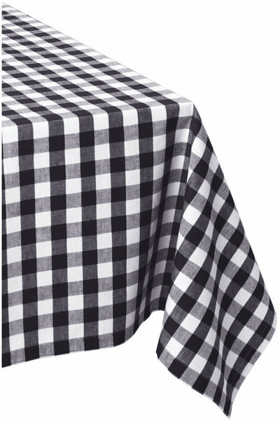 VINYL FLANNELBACK TABLECLOTH, BLACK AND WHITE CHECK