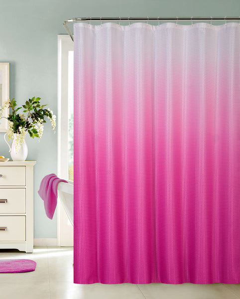 Ombre Waffle Fabric Shower Curtain With 12 Metal Roller Hooks Pink Browns Linens And Window Coverings