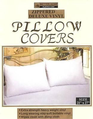 VINYL ZIPPERED PILLOW COVERS PROTECTORS, SET OF PILLOW CASES
