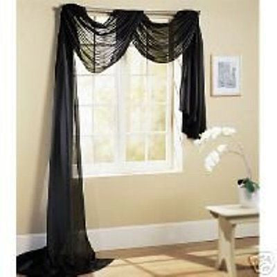 "SHEER VOILE 216"" WINDOW SCARF BLACK"