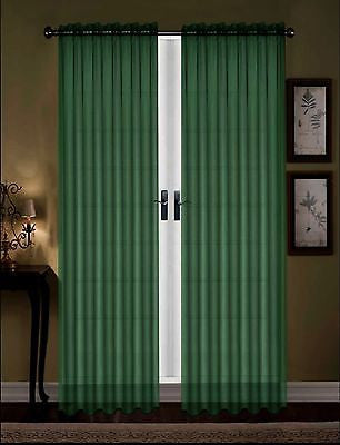 "SET OF 2 SHEER VOILE TAILORED CURTAINS 84"" LONG DARK GREEN"