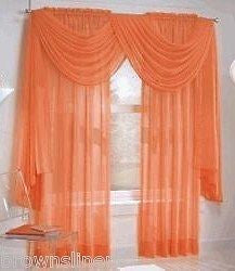 "SHEER VOILE 216"" LONG WINDOW SCARF ORANGE"