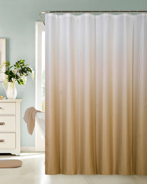 Copy of Ombre Waffle Fabric Shower Curtain with 12 Metal Roller Hooks, Taupe