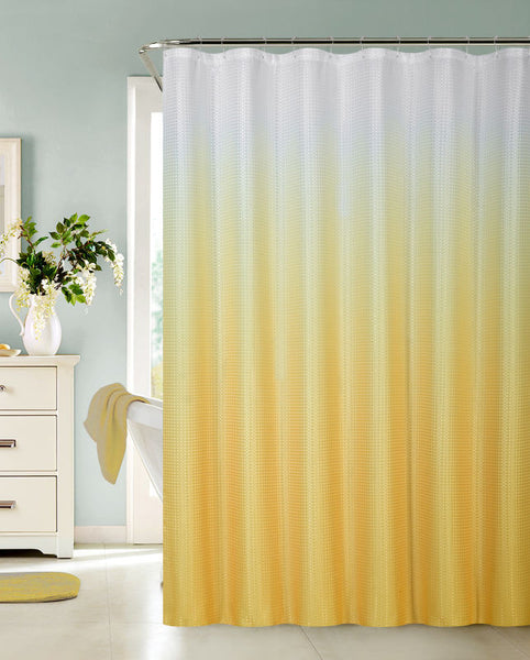Ombre Waffle Fabric Shower Curtain with 12 Metal Roller Hooks, Yellow