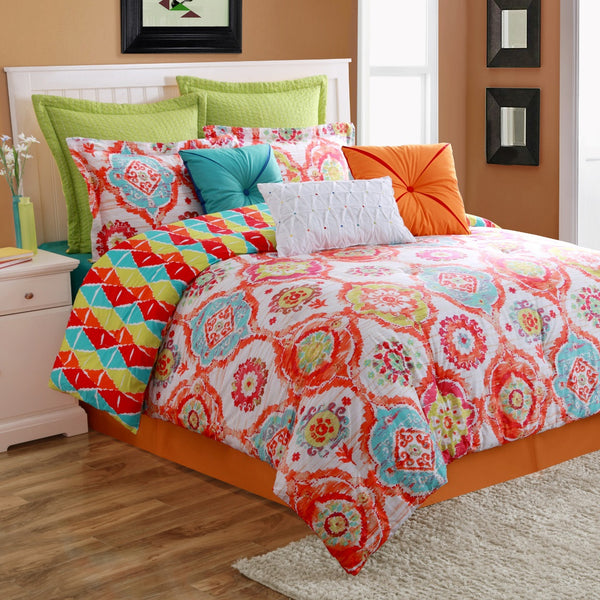 FIESTA AVA COMFORTER, BEDSKIRT AND 2 PILLOW SHAMS OVERSIZED AND OVERFILLED