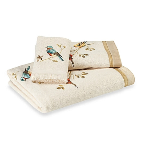Avanti Gilded Birds 3 Piece Bath Towel, Hand Towel and Fingertip Towel Set Ivory