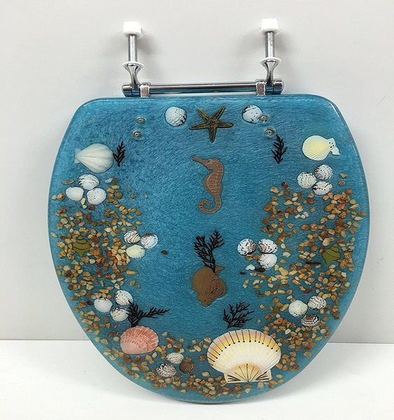 DANIELS BLUE SEASHELL AND SEAHORSE STANDARD ROUND CHROME HINGE TOILET SEAT