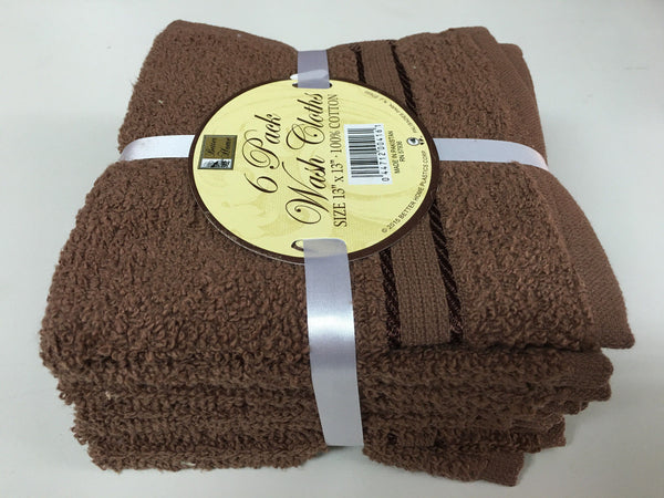 SET OF 6 100% COTTON TERRY WASH CLOTHS, GENEROUS 13 INCH X 13 INCH BETTER HOME