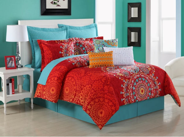 FIESTA COZUMEL COMFORTER, BEDSKIRT AND 2 PILLOW SHAMS OVERSIZED AND OVERFILLED