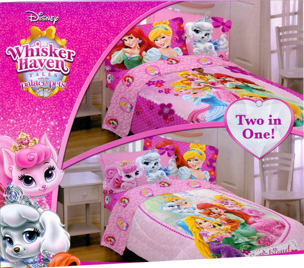 DISNEY PRINCESS PALACE PETS, WHISKER HAVEN TWIN SIZE REVERSIBLE COMFORTER