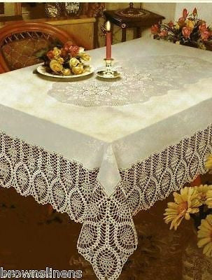 New Crochet Lace Vinyl Tablecloth Brown S Linens And
