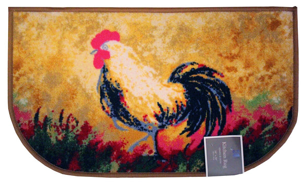 KASHI HEN KITCHEN SLICE HALF MOON RUG, NON SKID BACK