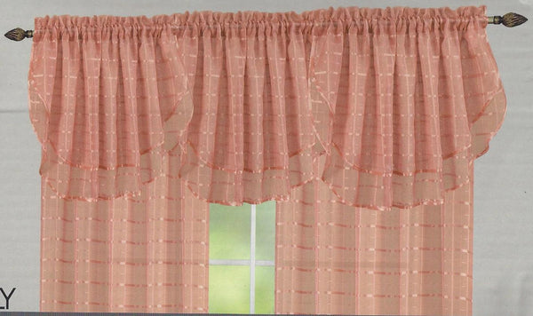 LILY PLAID SHEER CURTAINS, ROD POCKET TOP, VALANCES AVAILABLE SEPARATELY
