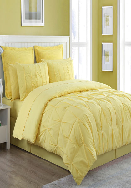 FIESTA LUNA SUNFLOWER YELLOW COMFORTER, BEDSKIRT AND 2 PILLOW SHAMS OVERSIZED AND OVERFILLED