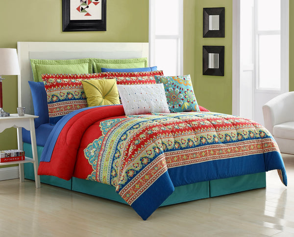 FIESTA MARIPOSA COMFORTER, BEDSKIRT AND 2 PILLOW SHAMS OVERSIZED AND OVERFILLED