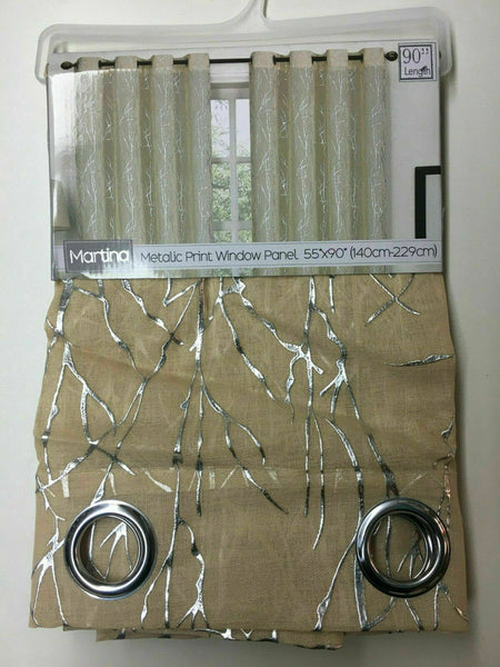 SET OF 2 MARTINA GROMMET TOP CURTAIN PANELS WITH SILVER METALLIC ACCENT 90 LONG