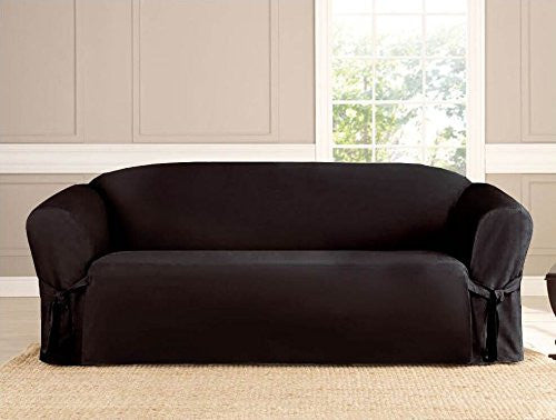Micro-suede Slipcover, Furniture Covers, BLACK