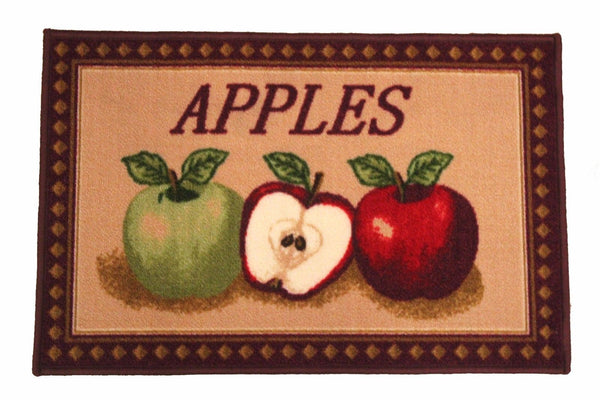 "KASHI MIXED APPLES OVERSIZED KITCHEN RUG, NON SKID BACK, 20"" X 40"""