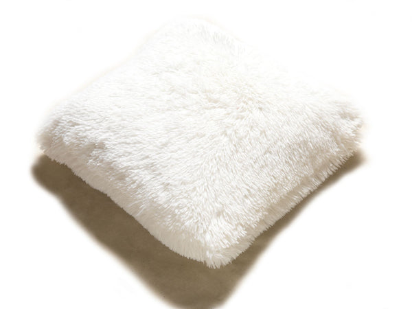 Set of 2 Shaggy Fur Toss Throw Pillows, BEIGE